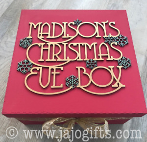 Engraved Personalised Christmas Eve Box Painted with Snowflakes