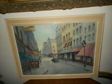 Large old oil painting,{ City scene in Paris, is signed Du Bois, nice frame! }.