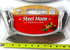"""STEEL MOON La Mezzaluna CUTTER 10"""" Long Half Moon Pizza Rocker Knife ITALY NEW"""