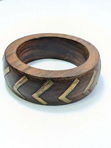Artisan Brown Wood Brass Chevron Inlay Chunky Bangle Bracelet 7.5 inches