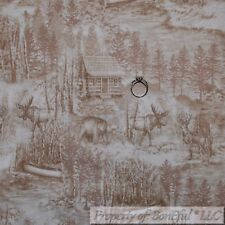 BonEful Fabric Cotton Quilt VTG Scenic Tree Forest Wood Country Cabin Deer SCRAP