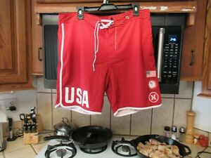 USA United States Volleyball team Olympic replica board shorts Hurley 34 w Red