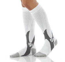 Unisex Men Women Leg S Pport Stretch Magic Compression Socks Sports Running U White L/xl