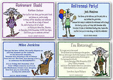 Personalised Retirement Party invitations funny male femalex10 with envelopes