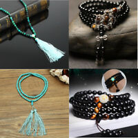 Natural Bead Mala Buddhist Buddha Bracelets Lotus Meditation 108 Prayer Necklace