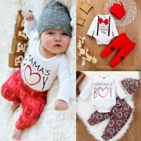 Newborn Infant Baby Boys Valentine's Day Heart Print Romper Plaid Pants Outftis