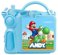 Personalised Kids Lunch Box + Bottle Any Name Mario Childrens Boys School Gift 2