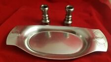 Mid-Century Aluminum Bread Tray and 2 Heavy Steel Candle Holders (#4504)