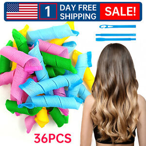 36X Magic Long Hair Curlers No Heat Spiral Rollers Set DIY Tool Hair Styling-P1D