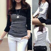 Women Ladies Stripe Patchwork Blouse Tops Casual Long Sleeve Slim Tee Shirt UK