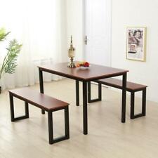 Modern Kitchen Dining Set Furniture Table Bench Room Black & wood grain Finish