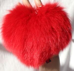 Mink Heart Fur Pendant Blue Fox fuchs Key Pocket Mink Fox Red