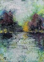 Original Aceo ATC Painting Landscape Lake  Garden Art Trading Card Signed