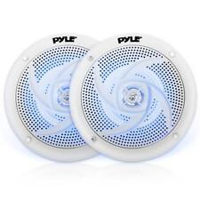 """Pair of Pyle PLMRS53WL 5.25"""" 180W Low-Profile Marine Speakers with LED Lights"""