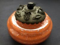 Old Vtg CZECH Bohemia Jeweled Orange Glass Silver Flakes Ormolu Brass Powder Jar