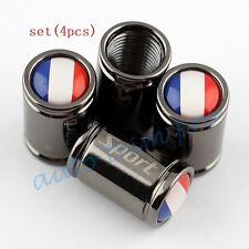Titanium Style Air Tyre Tire Valve Car Wheel Cap Cover France FR Flag Logo Trim
