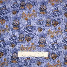 Christmas Fabric - Polar Express Train & Logo Scene Blue - Springs YARD