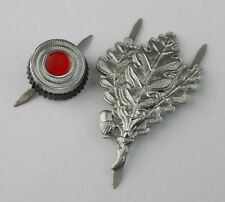 WW2 GERMAN M43 CAP BADGE WITH OAK LEAF CAP HAT BADGE PIN
