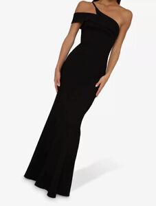 Chi Chi London Allyn Dress Black Long Mermaid One shoulder Formal Gown Uk 10