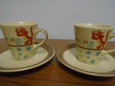 EXPRESSO LATTE COFFEE CUPS AND SAUCERS DISNEY WINNIE THE POO TIGER
