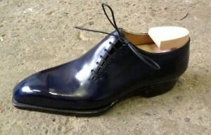 NEW-Handmade Men One Piece Black Patient Leather or Leather Lace Up Dress Shoes