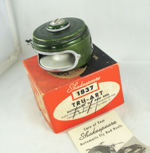 Old Vintage SHAKESPEARE TRU-ART No. 1837 Automatic Fly Reel + Box + Paper