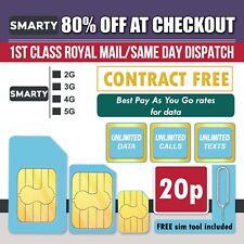 Smarty Sim Card- Unlimited Data, Calls & Texts - PAYG £20 Bundle - FREE Sim Tool