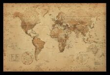 """(FRAMED) MAP OF THE WORLD VINTAGE POSTER 96x66cm or 38""""x26"""" PRINT PICTURE HOME"""