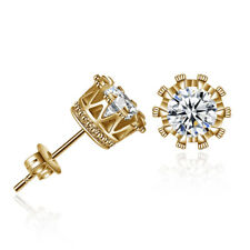 Men Women's Gold Plated Cubic Zirconia Crystal Stud Earrings 6mm