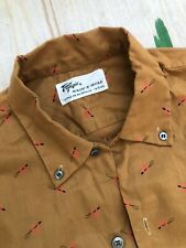 1950s Nos Vintage Town Topic Printed Horseshoe Equine Button Down Shirt S
