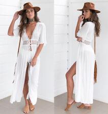 Womens Boho Kaftan Bandage Bikini Cover Up Beachwear Party Beach Long Maxi Dress