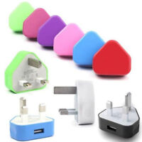 3 Pin UK New Travel Plug Adapter Charger Wall Socket USB Port for mobile Phones