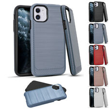 """for Apple iPhone 11 6.1"""" Metallic Carbon Texture Hybrid Case Cover+tool"""