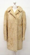 VINTAGE 70s GLAMOROUS CREAM BEAUTIFUL ASTRAKAN PERSIAN LAMB FUR COAT SIZE 18