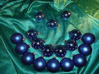~ Konvolut 18 alte Christbaumkugeln Glas blau matt glanz Weihnachtsbaumkugeln ~