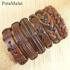 PotaMalat 6pcs Fashion Bracelet Men Women Brown Woven Leather Bracelet-D32