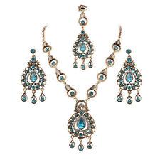 Gorgeous Indian Bridal Sapphire Jewellery Maang Tikka Headpiece 3 Pc Jewelry Set