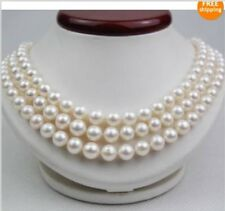 "3 ROWS  AAA 9-10M SOUTH SEA NATURAL White PEARL NECKLACE 14K CLASP 17' 18"" 19"""
