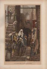 "Tissot Jesus CHROMO-LITHO PRINT - ""Saint Joseph cherche un logement"" (1897)"