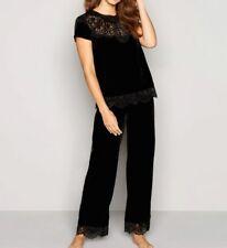 Ted Baker Black Velvet Floral Lace Pyjama Top & Bottom Set size 8 BNWT