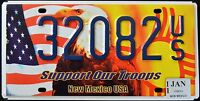 "NEW MEXICO "" SUPPORT OUR TROOPS EAGLE FLAG NM Military Specialty License Plate"