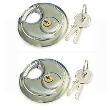 "Lot of 2 Stainless Steel Shrouded Shackle 2 ¾"" (70mm) Round Disc Pad Lock"