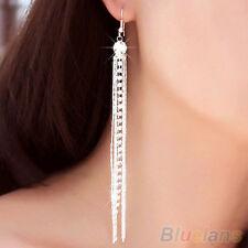 Silver Rhinestone Long Tassels Drop Hook Dangle Cocktail Party Linear Earrings