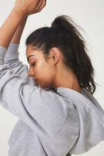 Factorie Womens Classic Crop Hoodie Fleece Tops  In  Grey