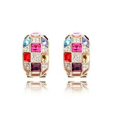 18K Rose Gold GP Made With Swarovski Crystal Square Luxury French Clip Earrings
