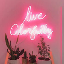 """Live Colorfully Neon Sign Light Acrylic 20""""x16"""" Bedroom Bar With Dimmer"""