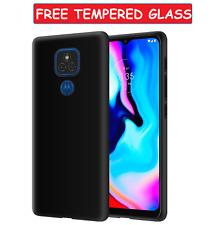 Black Case For Motorola Moto E7 Plus Cover Gel Skin + Glass Screen Protector