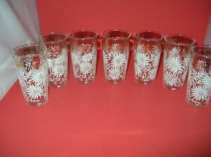 """Vintage 7 White Flowers Gold Scroll Highball 12 oz Drinking Glasses 5"""" Tall Q"""