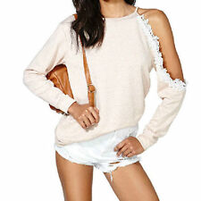 Lace Long Sleeve Solid Regular Size Tops & Blouses for Women