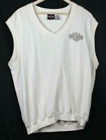 Harley Davidson Motorcycles White Cream Size M Sleeveless Sweater Vest free ship